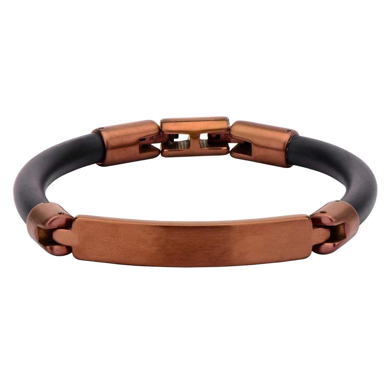 Brown Stainless Steel Black Rubber Roberto Arichi Collection Bracelet