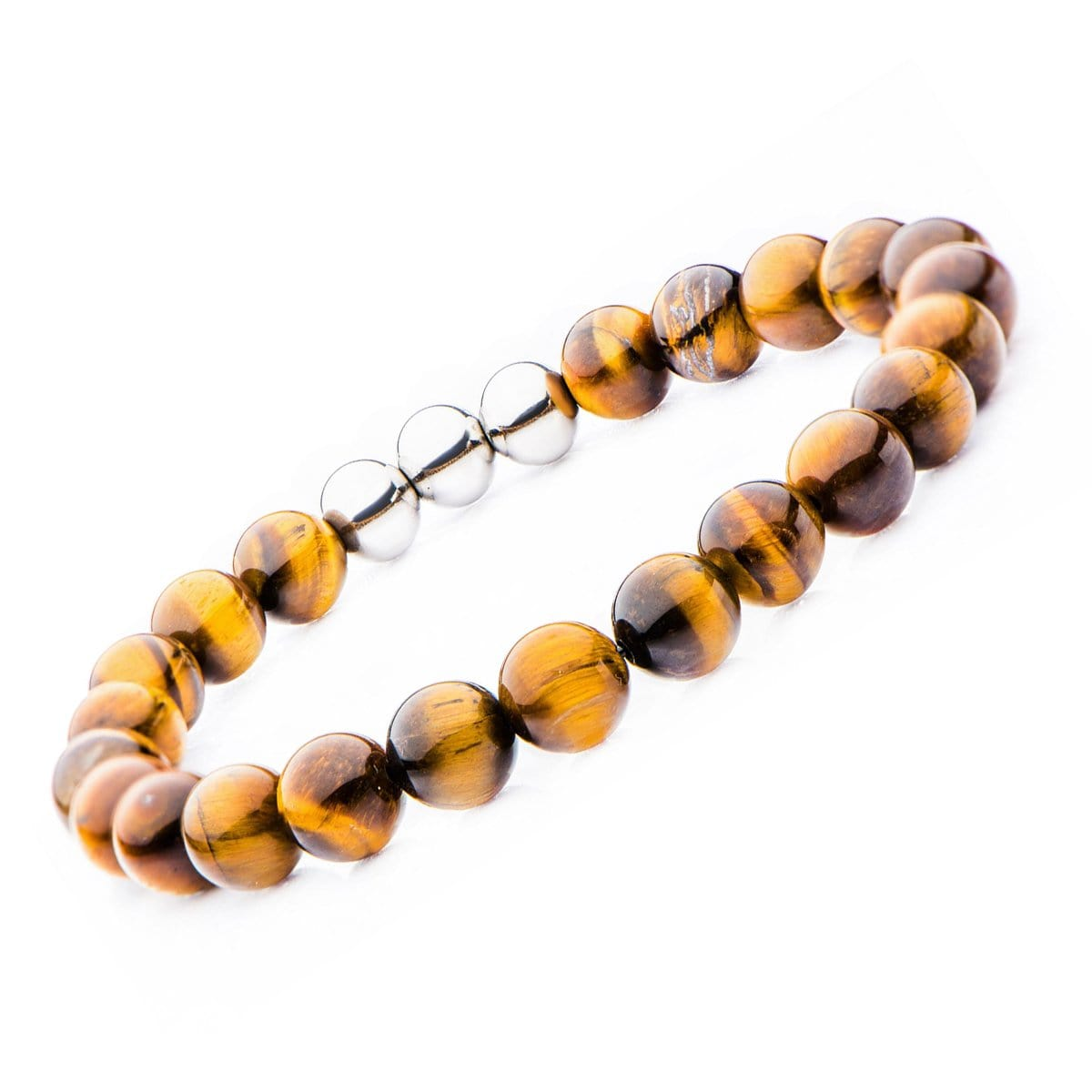 Silver Stainless Steel & Brown Tiger's Eye 8mm Bead Expandable Bracelet