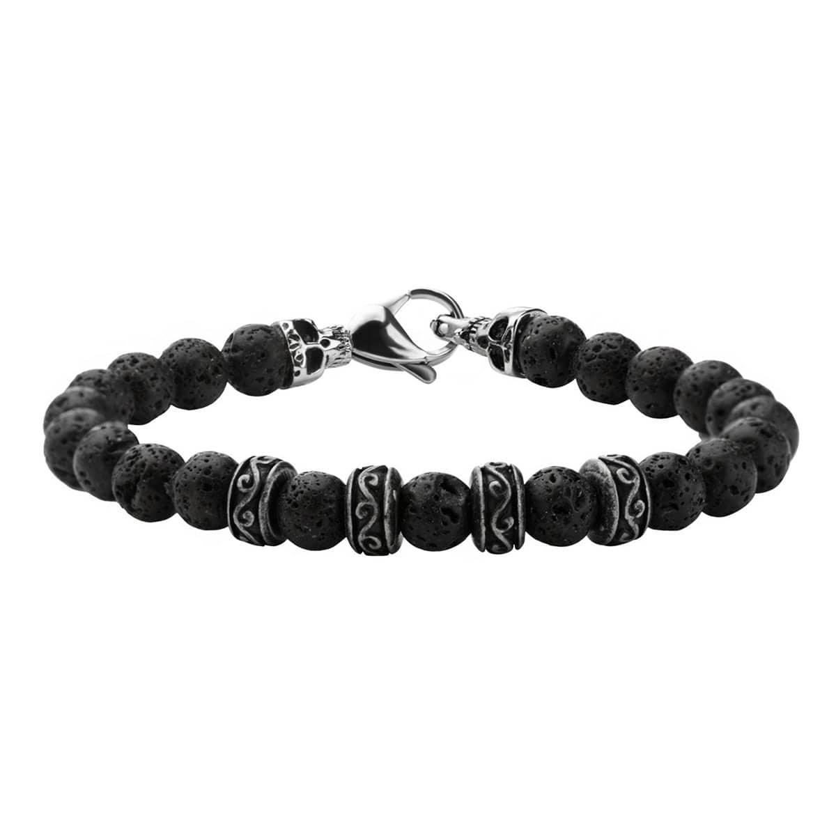 Silver Stainless Steel with Black Molten Lava 8mm Bead Skull Bracelet
