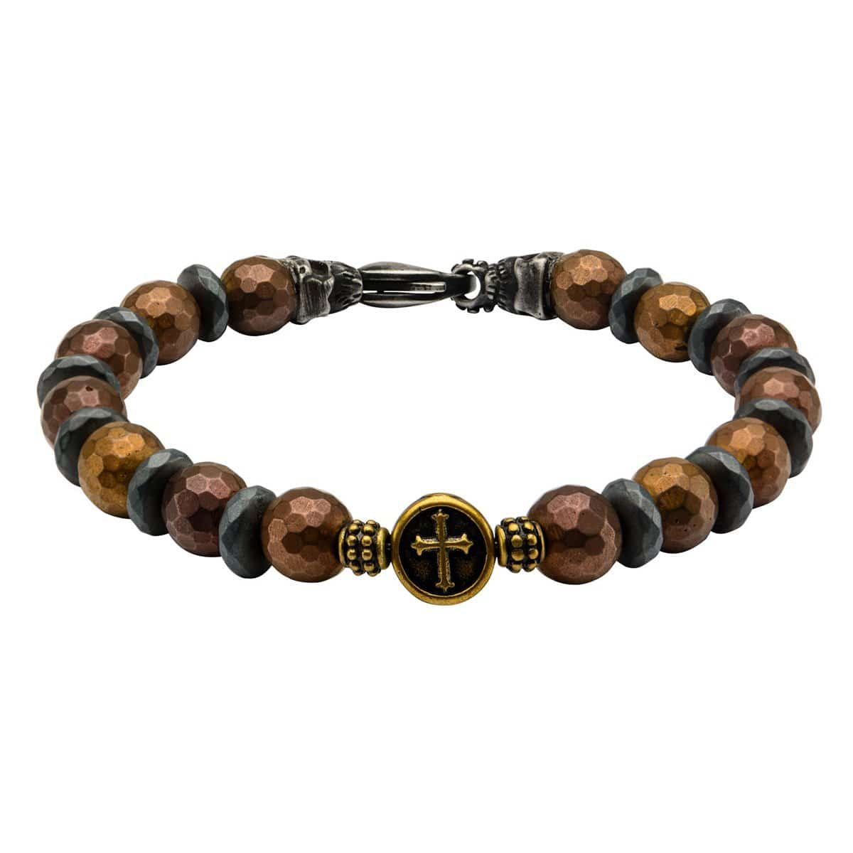 Black & Gold Stainless Steel with Brown Hematite Roberto Arichi Cross & Skull Bead Bracelet