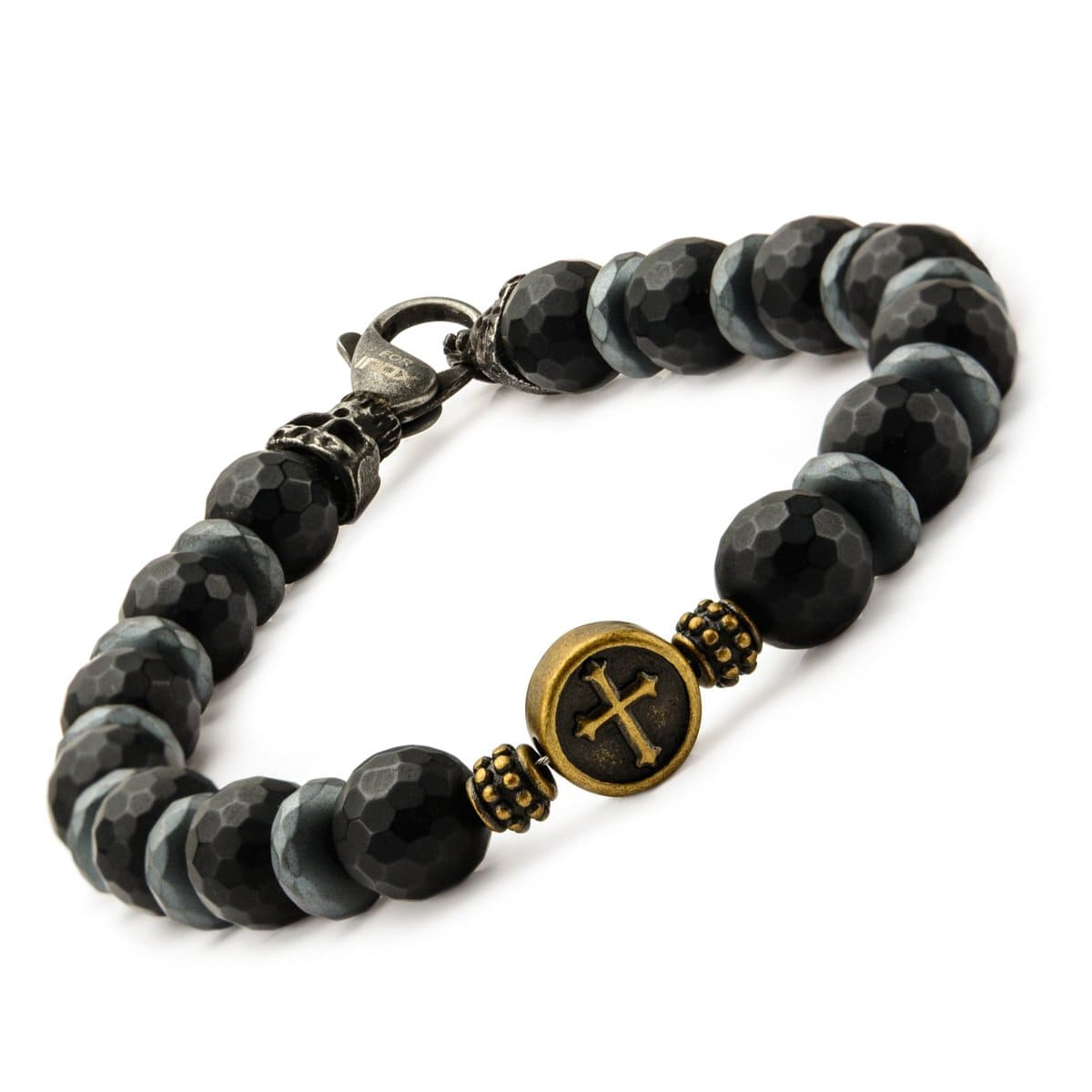 Black & Gold Stainless Steel with Black Hematite Roberto Arichi Cross & Skull Bead Bracelet