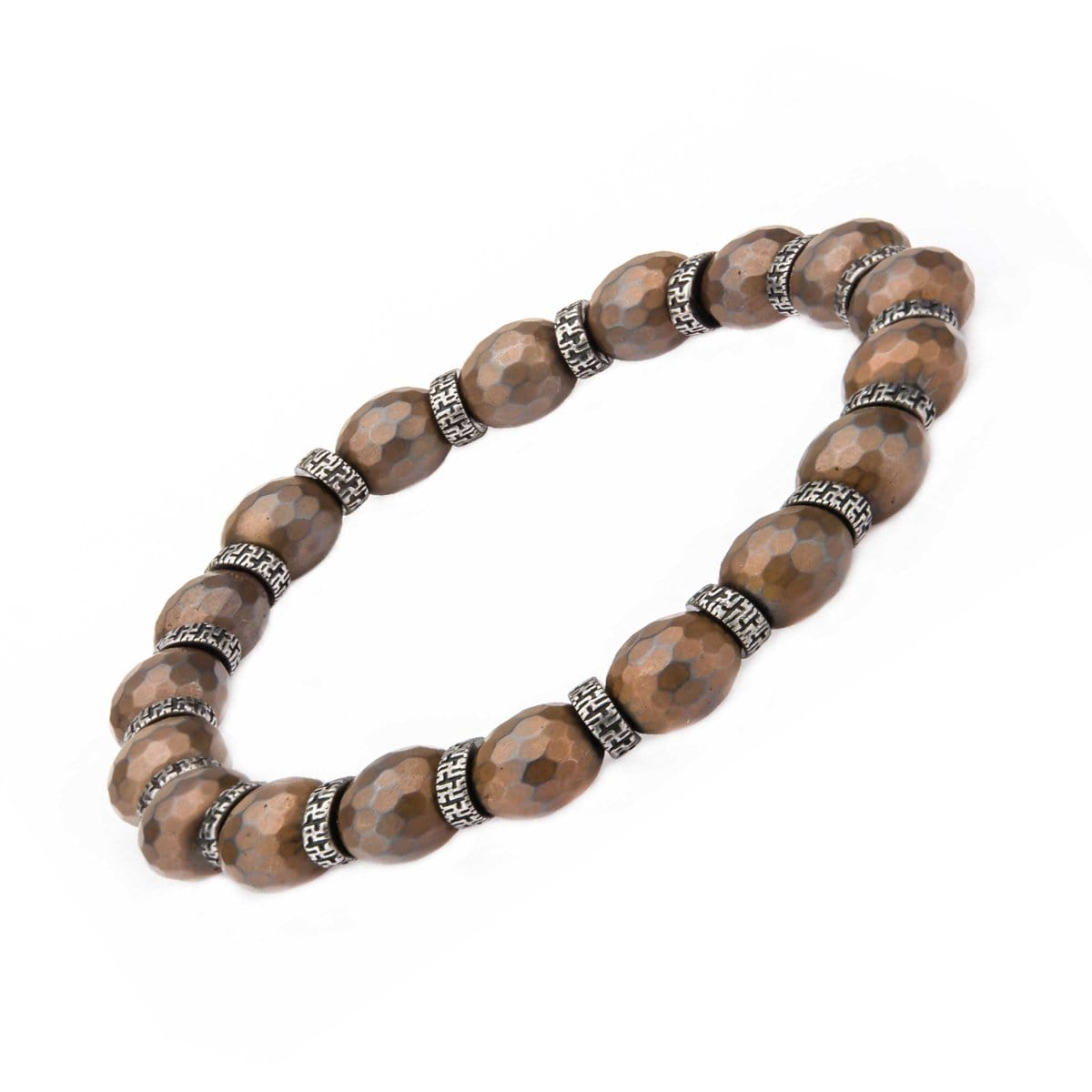 Darkened Silver Stainless Steel with Brown Hematite Bead and Antique Separator Stretch Bracelet