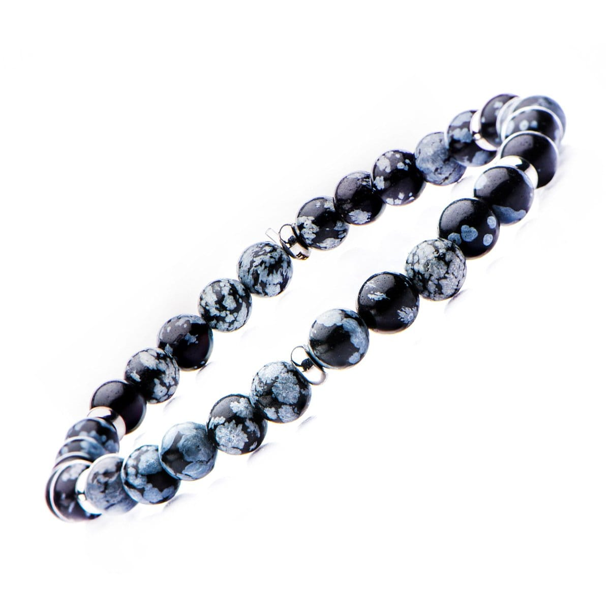 Silver Stainless Steel with Blue Snowflake Stone 6mm Bead Stackable Bracelet