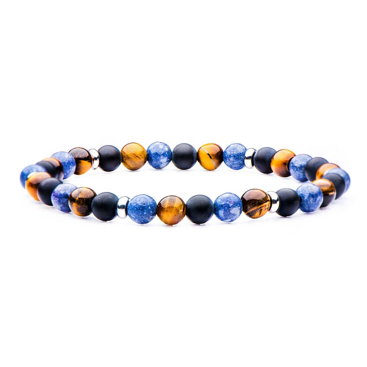 Silver Stainless Steel, Black Agate, Blue Coral & Tiger's Eye Stone 6mm Bead Stackable Bracelet