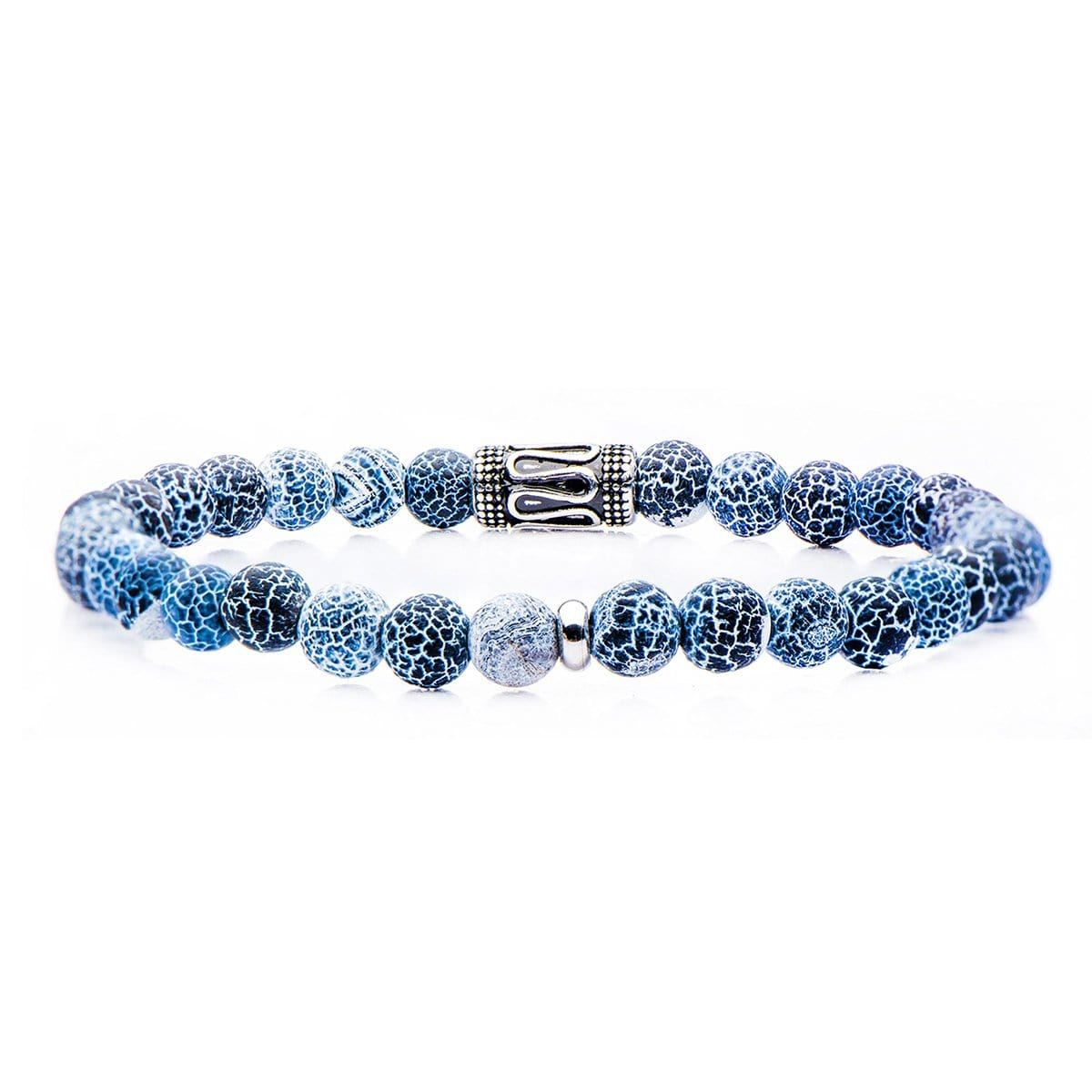 Silver Stainless Steel with Blue Cracked Agate 6mm Bead Stackable Bracelet