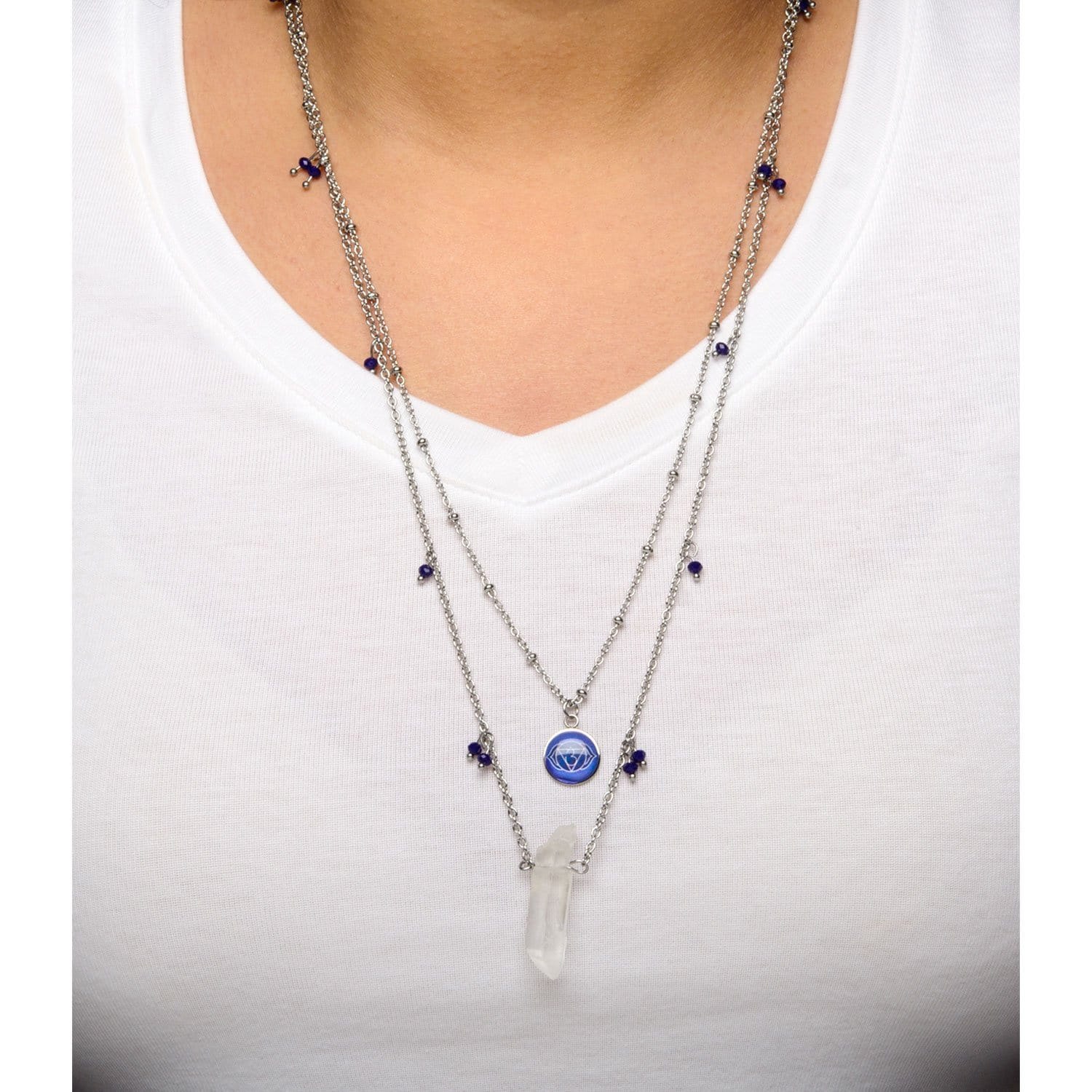 Silver Stainless Steel Blue Quartz Crystal Third Eye Chakra Necklace