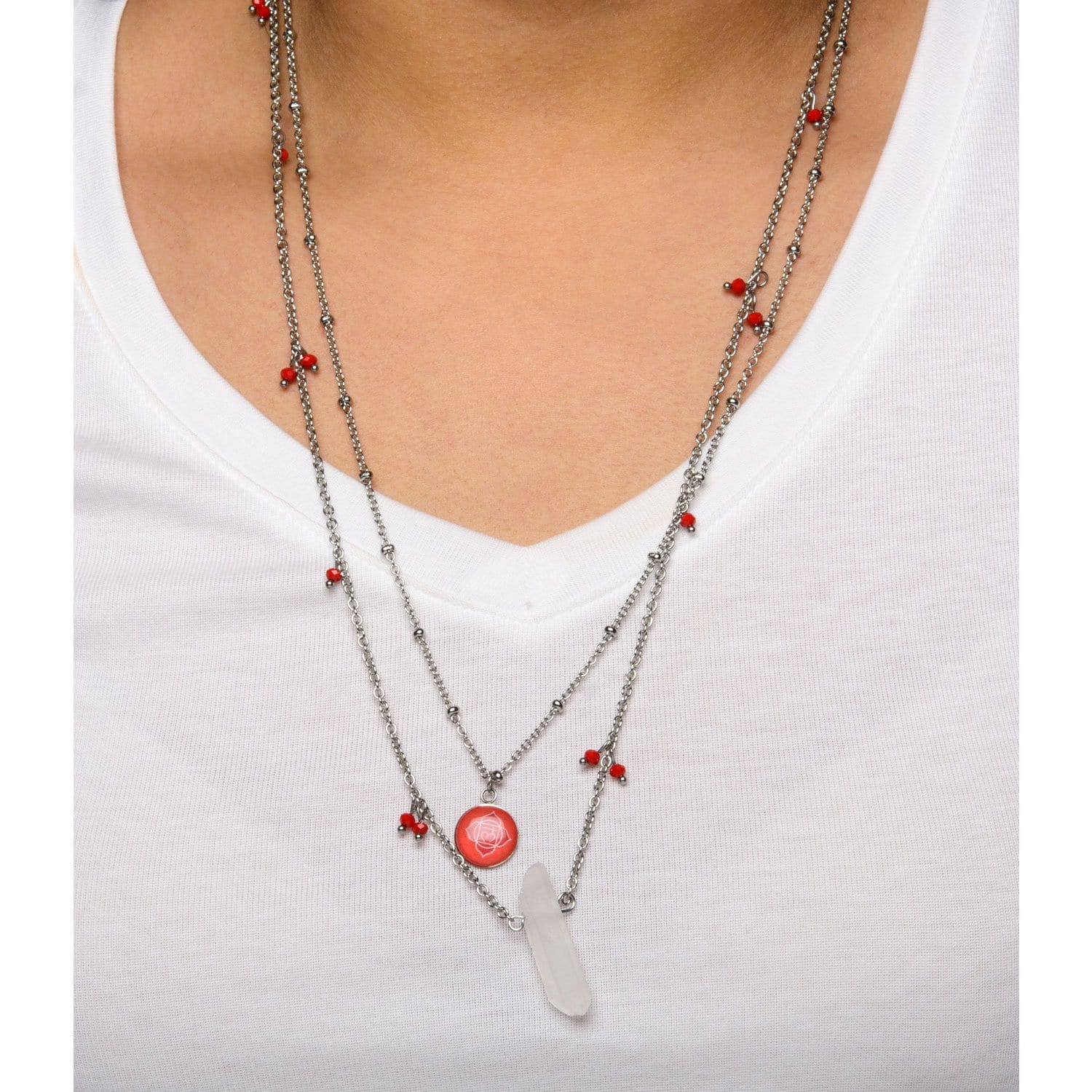 Silver Stainless Steel Red Quartz Crystal Roots Chakra Necklace