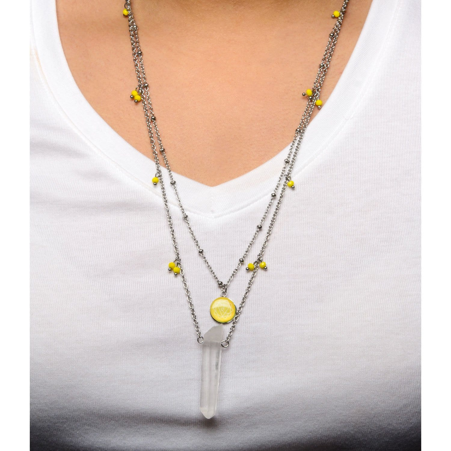Silver Stainless Steel Yellow Quartz Solar Plexus Chakra Necklace