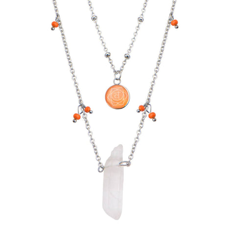 Silver Stainless Steel Orange Quartz Sacral Chakra Necklace