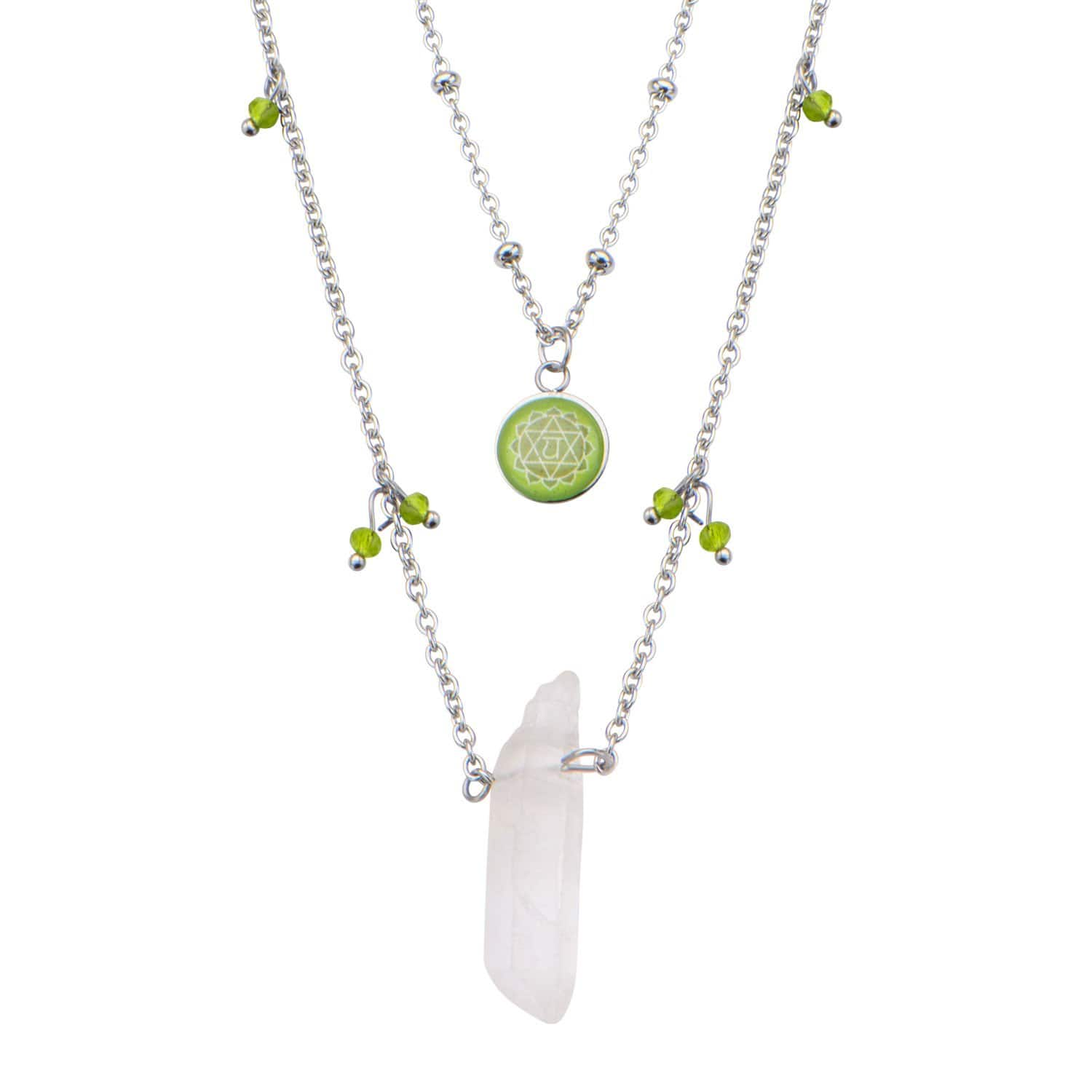 Silver Stainless Steel Green Quartz Crystal Heart Chakra Necklace