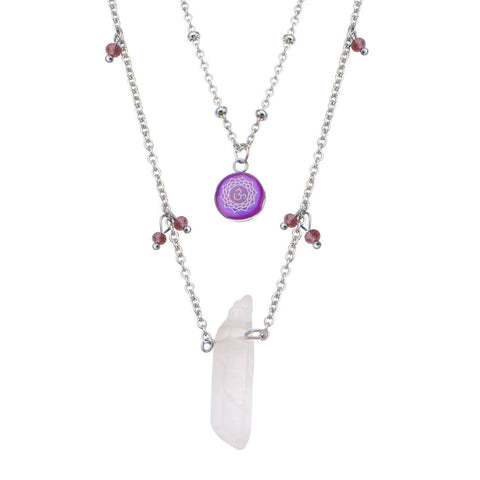 Silver Stainless Steel Purple Quartz Crown Chakra Necklace