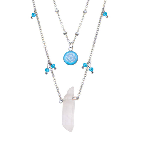 Silver Stainless Steel Light Blue Quartz Crystal Throat Chakra Necklace