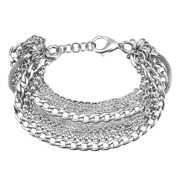 Chunky Silver Stainless Steel Adjustable Fashion Chain Bracelet Bunch Bracelets