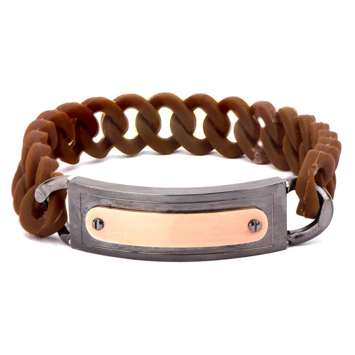 Dark Gray & Rose Gold Stainless Steel on Brown Silicone Curb ID Tag Bracelet Bracelets