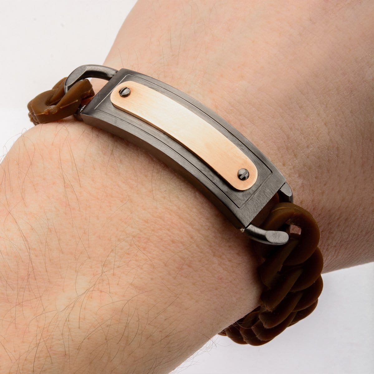 Dark Gray & Rose Gold Stainless Steel on Brown Silicone Curb ID Tag Bracelet