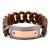 Dark Gray & Rose Gold Stainless Steel on Large Brown Silicone Curb ID Tag Bracelet Bracelets