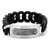 Dark Gray & Silver Stainless Steel on Large Black Silicone Curb ID Tag Bracelet Bracelets