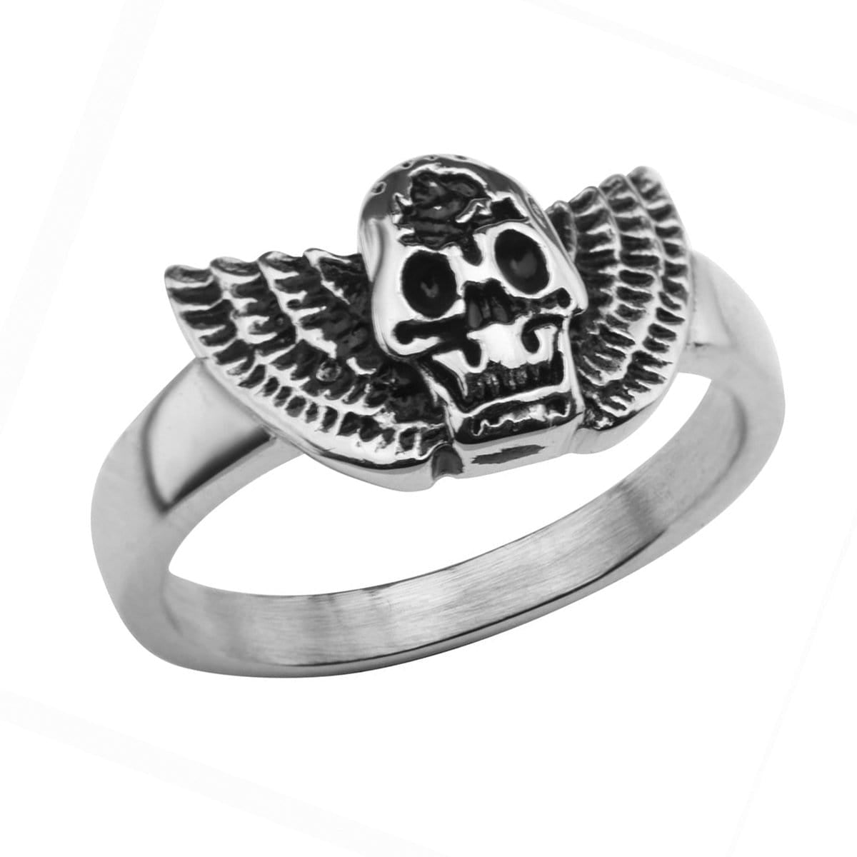 Darkened Silver Stainless Skull with Wings Ring