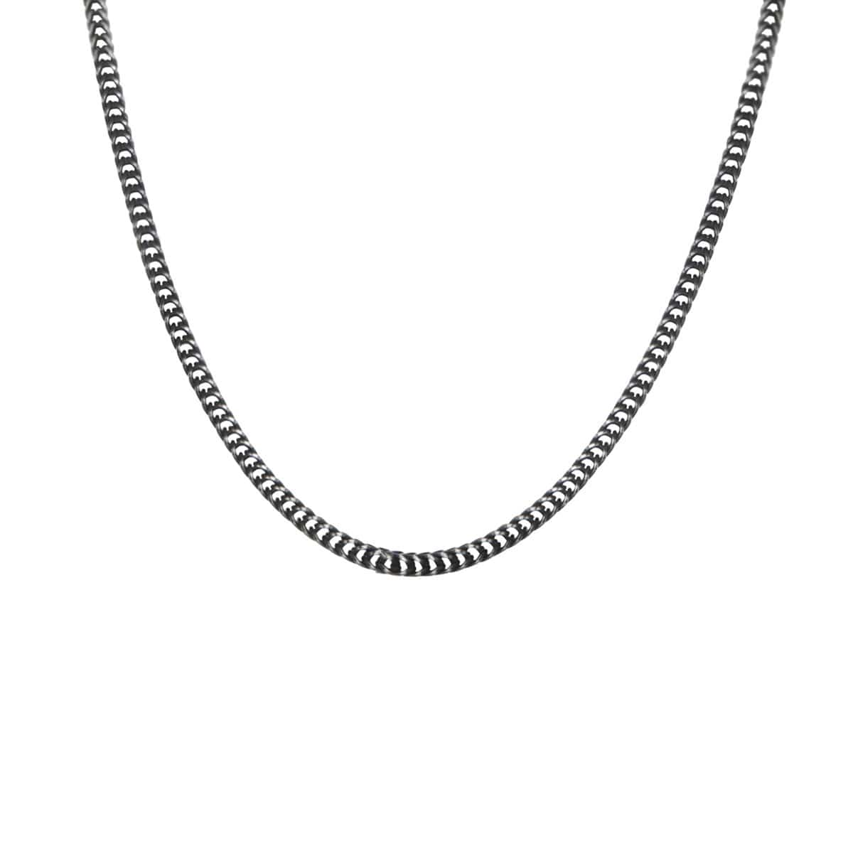 Darkened Silver Stainless Steel 3 mm Thin Wheat Chain Chains