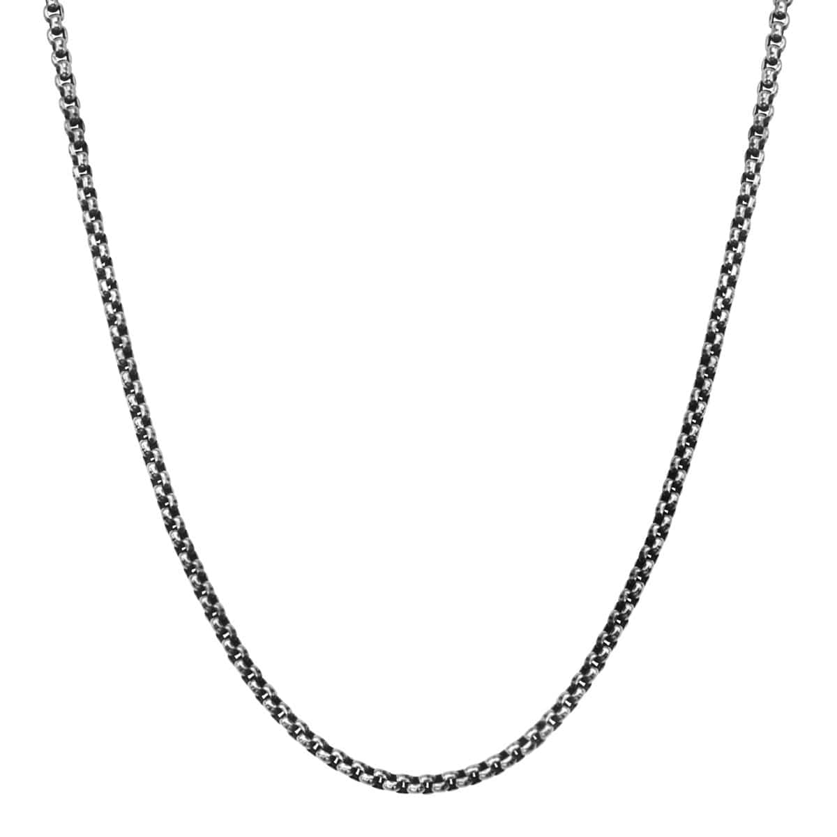 Darkened Silver Stainless Steel 3mm Bold Box Chain Chains