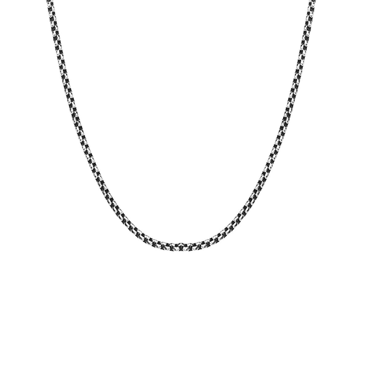 Darkened Silver Stainless Steel 4mm Bold Box Chain Chains