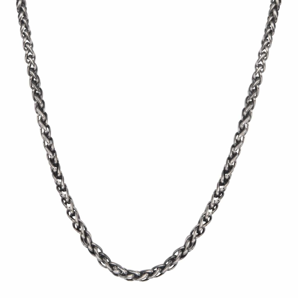 Darkened Silver Stainless Steel 4mm Wheat Chain Chains