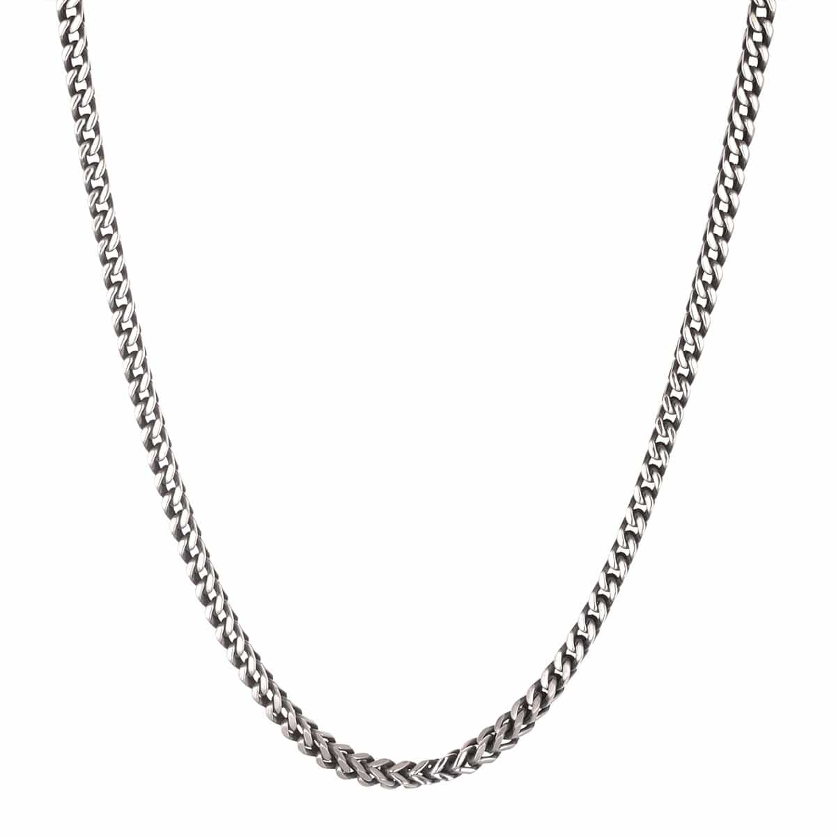 Darkened Silver Stainless Steel 5mm Franco Link Chain Chains 20 Inch