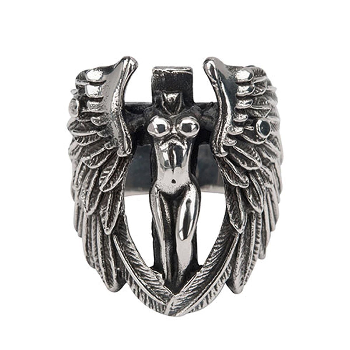 Darkened Silver Stainless Steel Angel with Cut Out Wings Ring