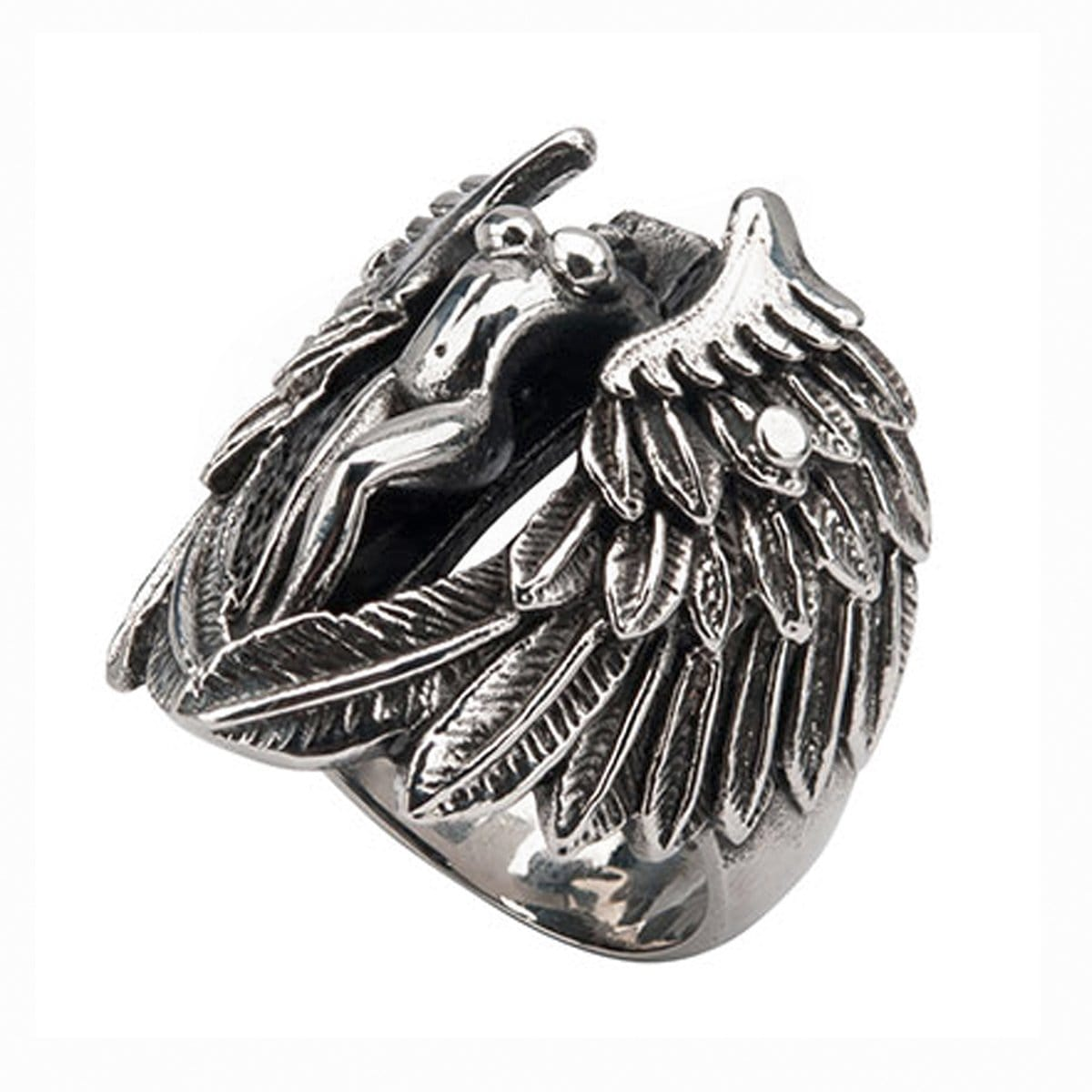 Darkened Silver Stainless Steel Angel with Cut Out Wings Ring Rings
