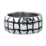 Darkened Silver Stainless Steel Brick Artifact Ring