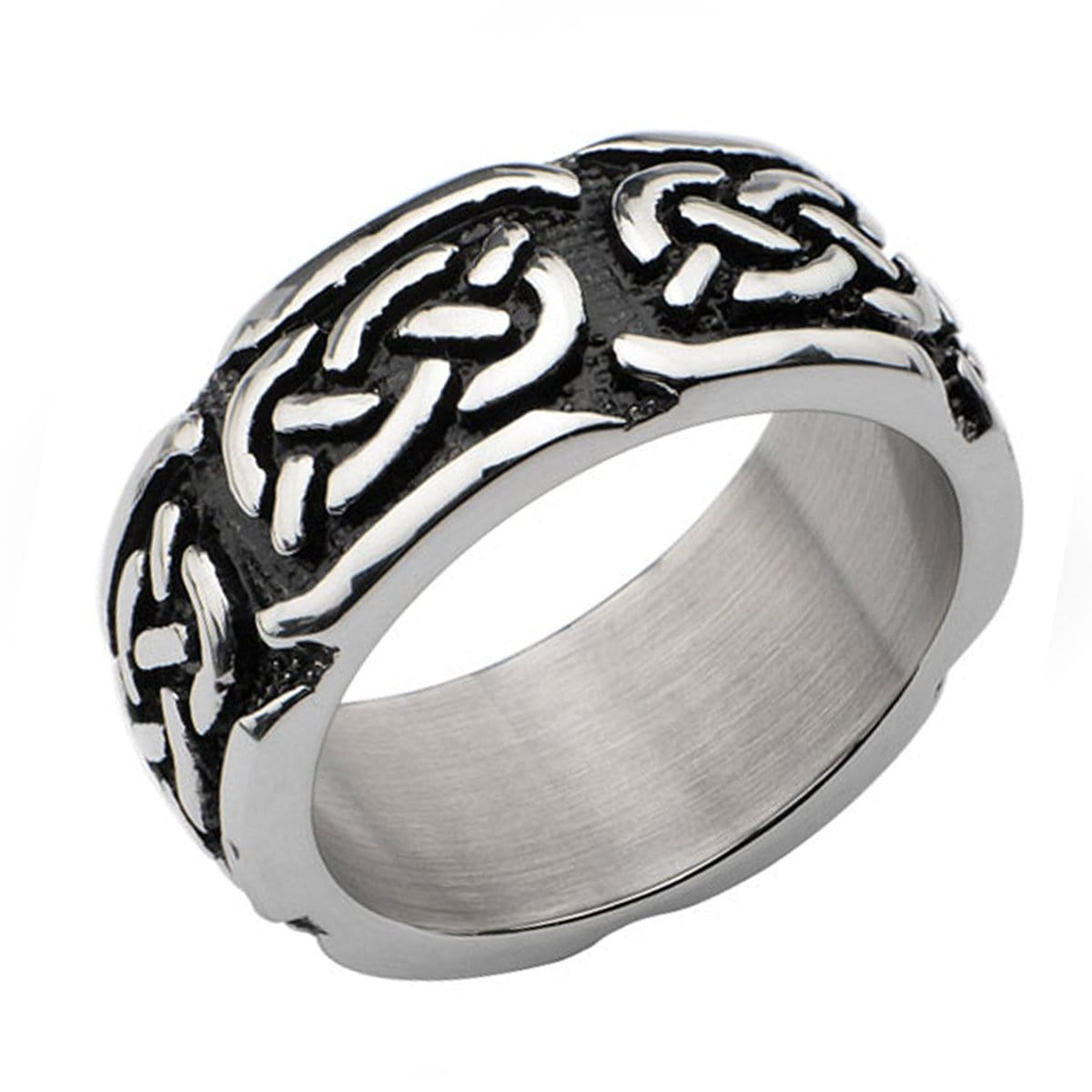 Darkened Silver Stainless Steel Celtic Pattern Ring
