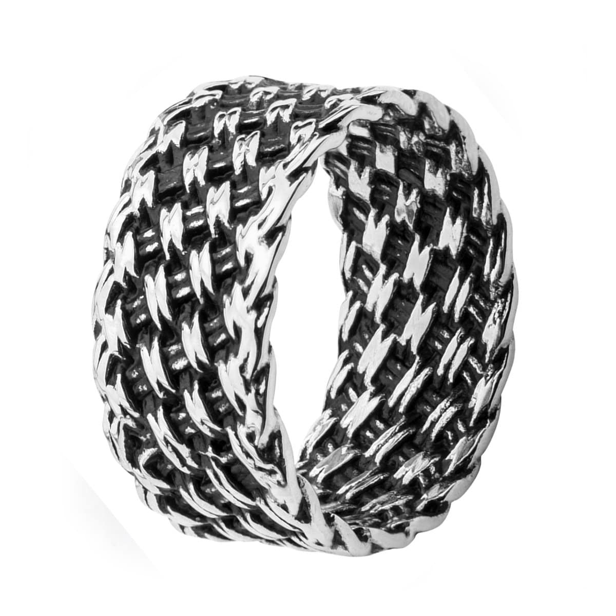Darkened Silver Stainless Steel Cross-Weave Woven Pattern Ring - Inox Jewelry India