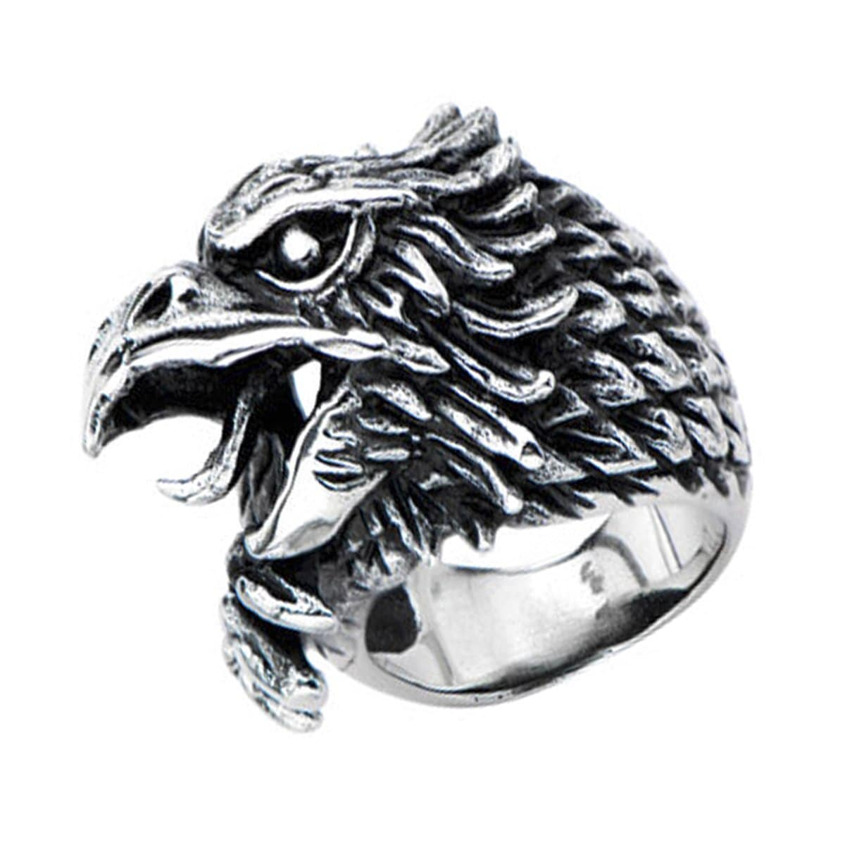 Darkened Silver Stainless Steel Eagle Profile Ring - Inox Jewelry India