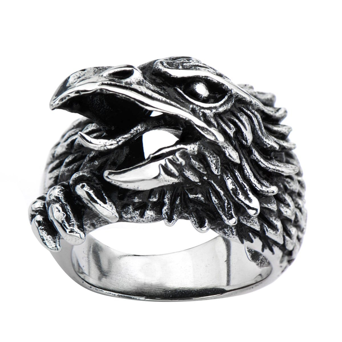 Darkened Silver Stainless Steel Eagle Profile Ring Rings