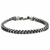 Darkened Silver Stainless Steel Franco Chain Bracelet