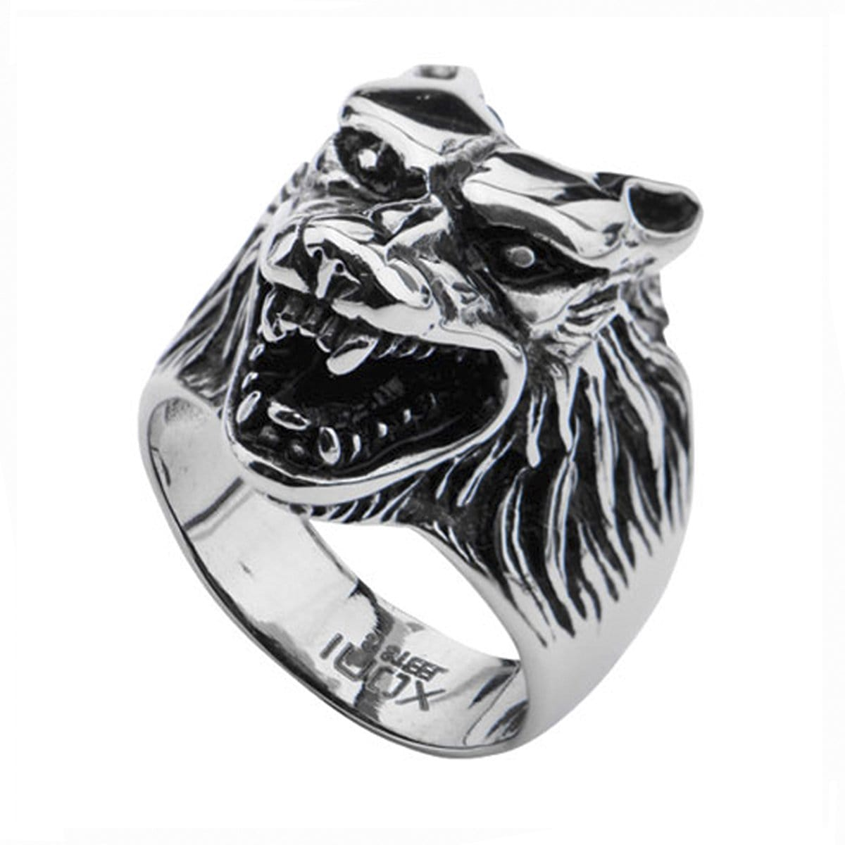 Darkened Silver Stainless Steel Growling Wolf Ring Rings