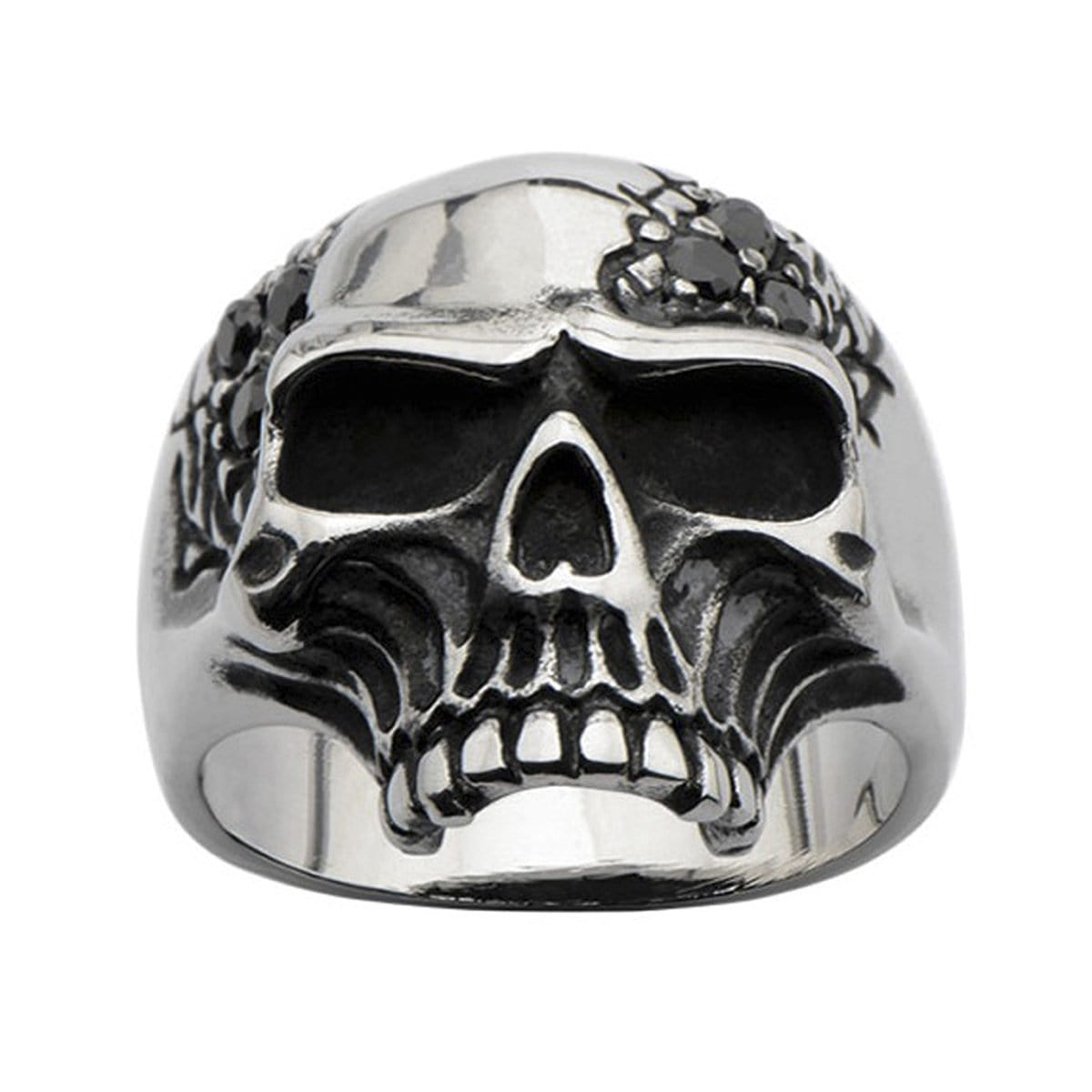 Darkened Silver Stainless Steel Half Skull with Black CZ Ring Rings