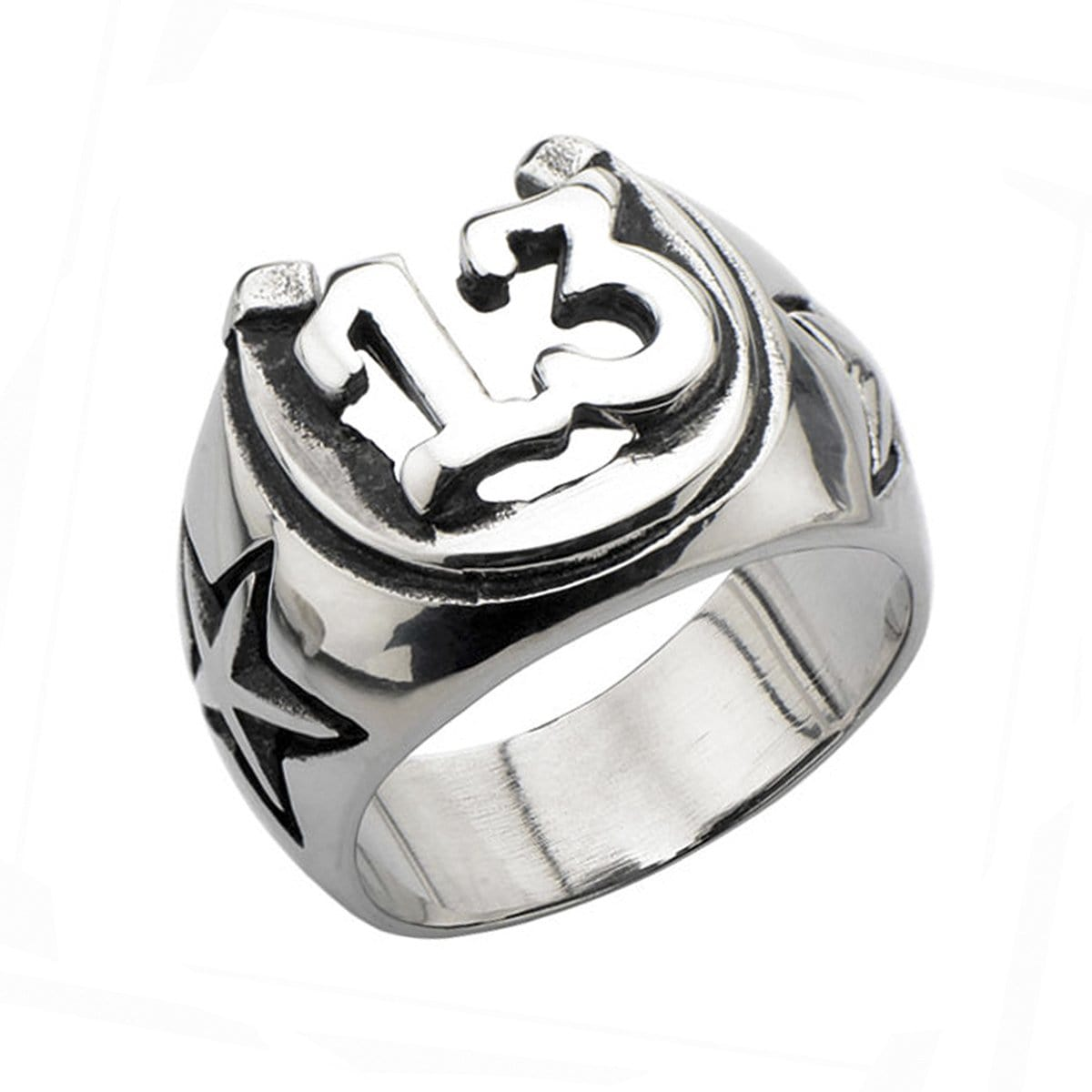 Darkened Silver Stainless Steel Lucky 13 Horseshoe Ring