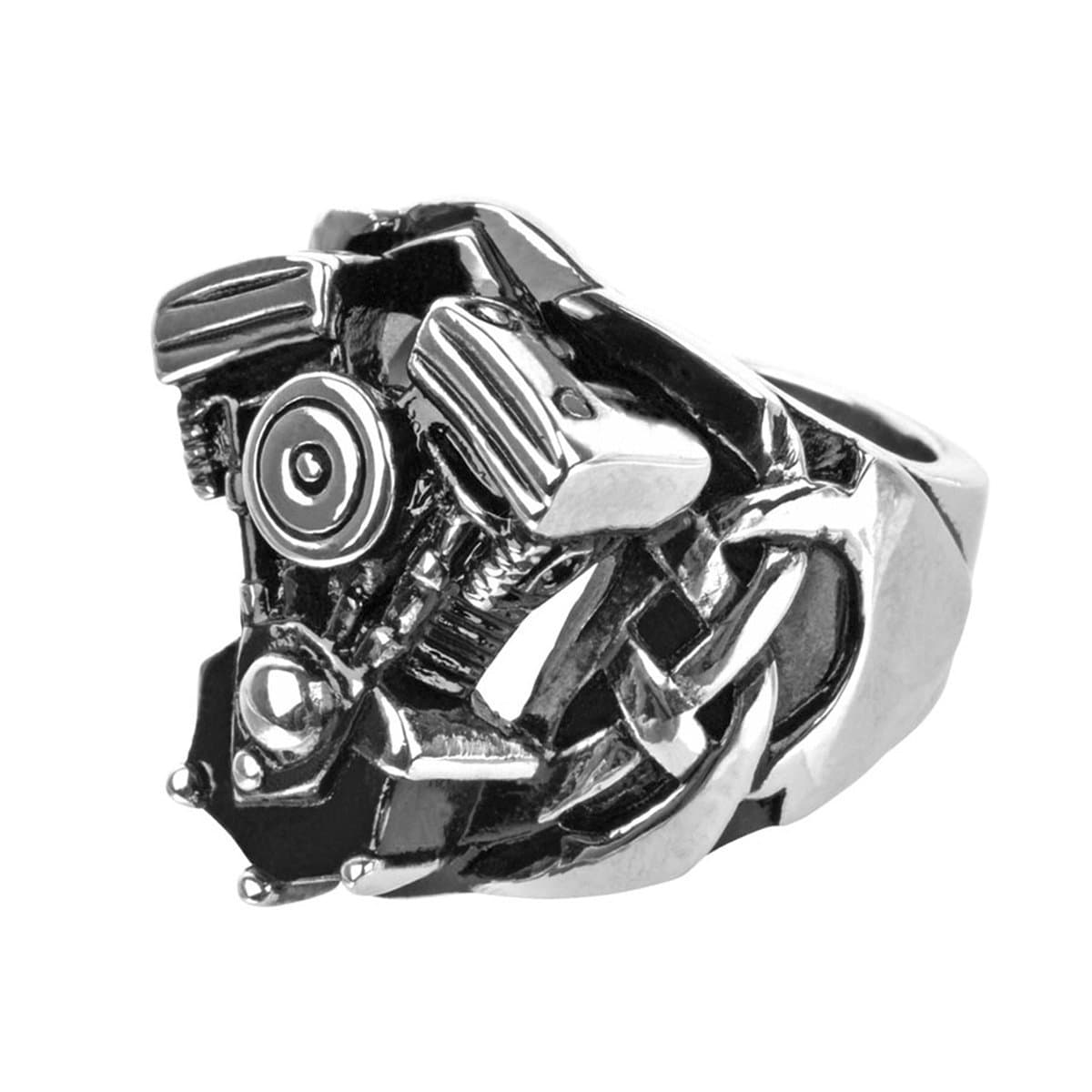Darkened Silver Stainless Steel Motorcycle Engine Ring - Inox Jewelry India
