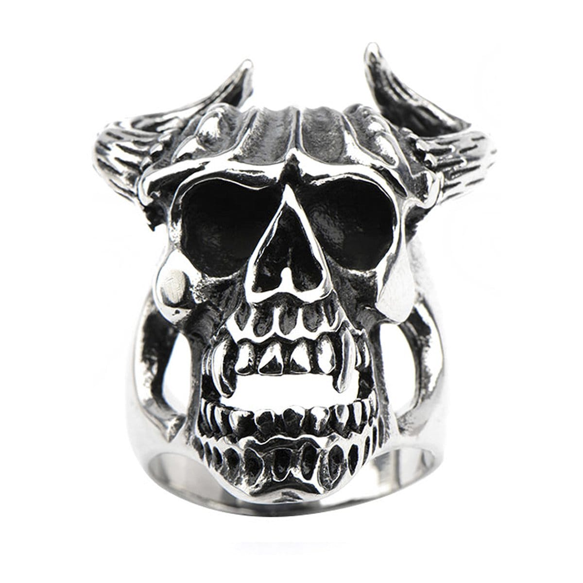 Darkened Silver Stainless Steel Oxidized Skull with Horns Ring Rings