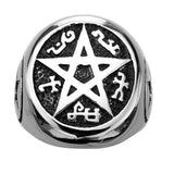 Darkened Silver Stainless Steel Pentagram Ring with Ancient Text Rings