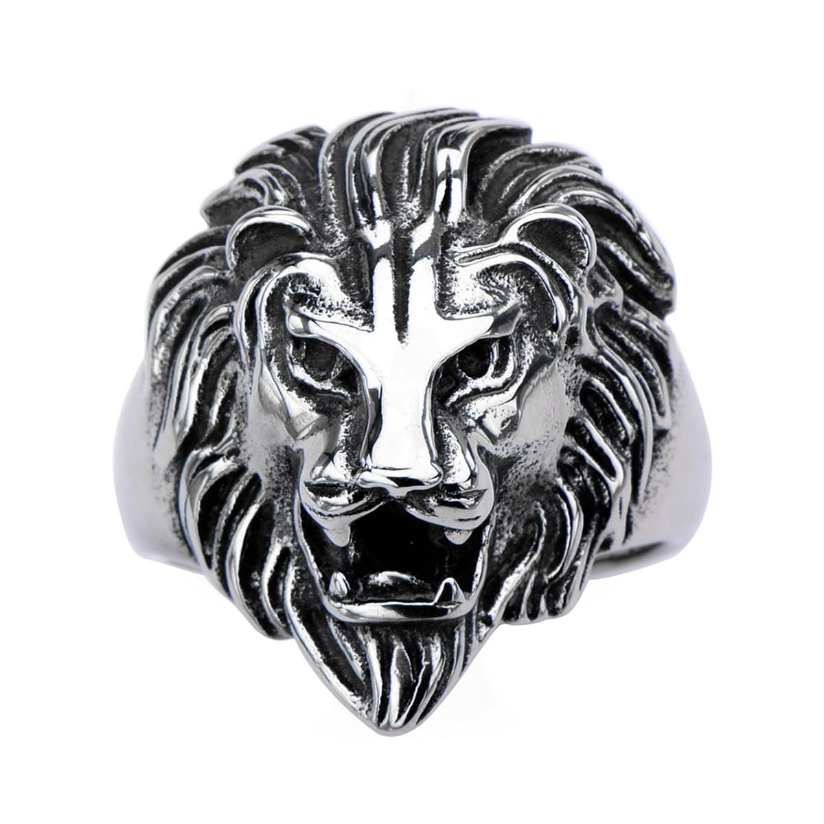 Darkened Silver Stainless Steel Roaring Lion Ring Rings