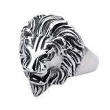 Darkened Silver Stainless Steel Roaring Lion Ring
