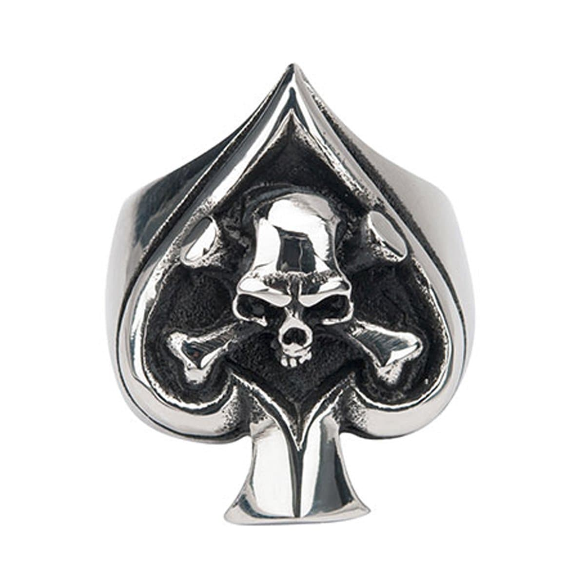 Darkened Silver Stainless Steel Spade with Skull Ring - Inox Jewelry India