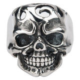 Darkened Silver Stainless Steel Swirl Cut-Out Skull Ring Rings