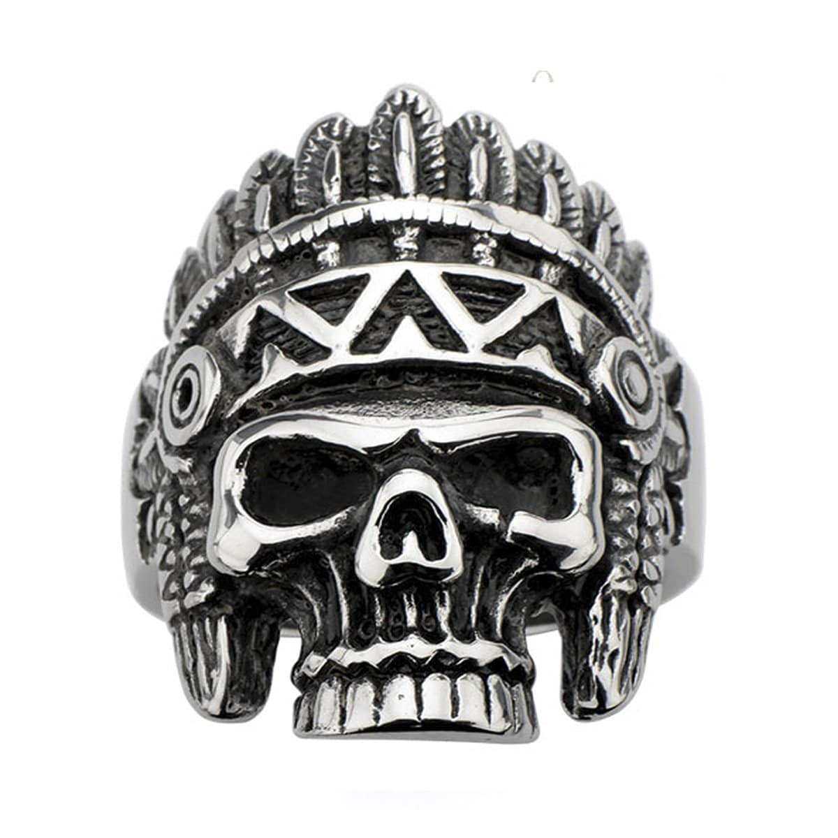 Darkened Silver Stainless Steel Tribal Chief Hallowed Jaw Skull Ring - Inox Jewelry India