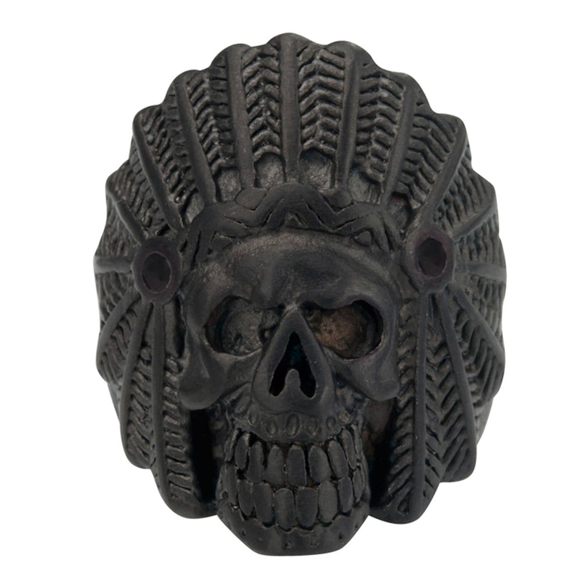 Black Stainless Steel Native American Tribal Chief Skull Ring - Inox Jewelry India