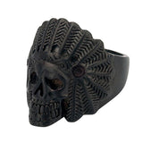 Black Stainless Steel Native American Tribal Chief Skull Ring