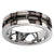 Rose Gold, Black & Silver Stainless Steel Framed Cable Spinner Ring - Inox Jewelry India