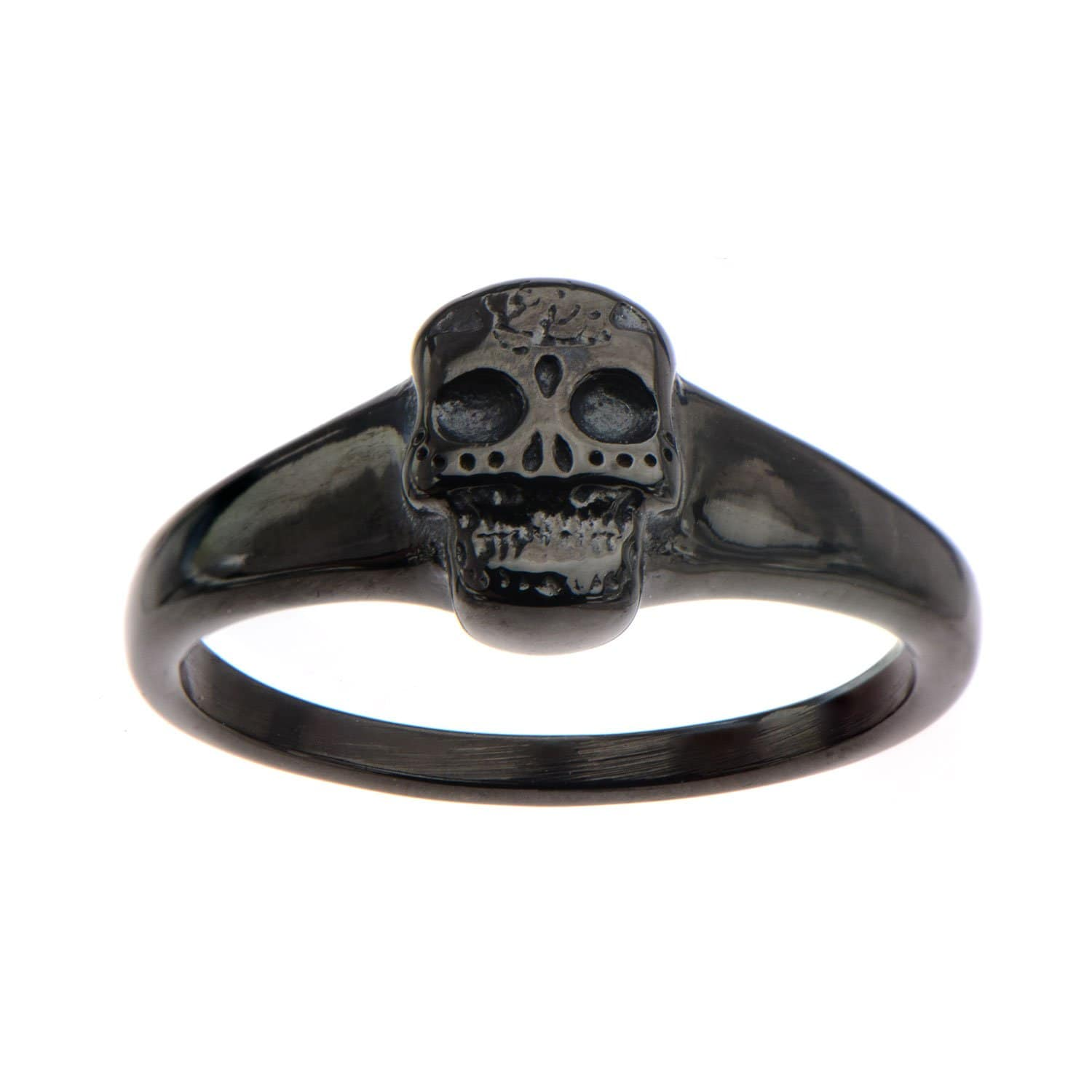 Black Stainless Steel Sugar Skull Ring